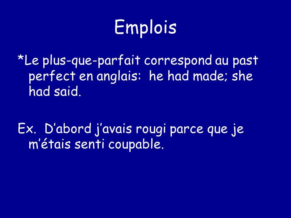 Emplois *Le plus-que-parfait correspond au past perfect en anglais: he had made; she had said. Ex. Dabord javais rougi parce que je métais senti coupa