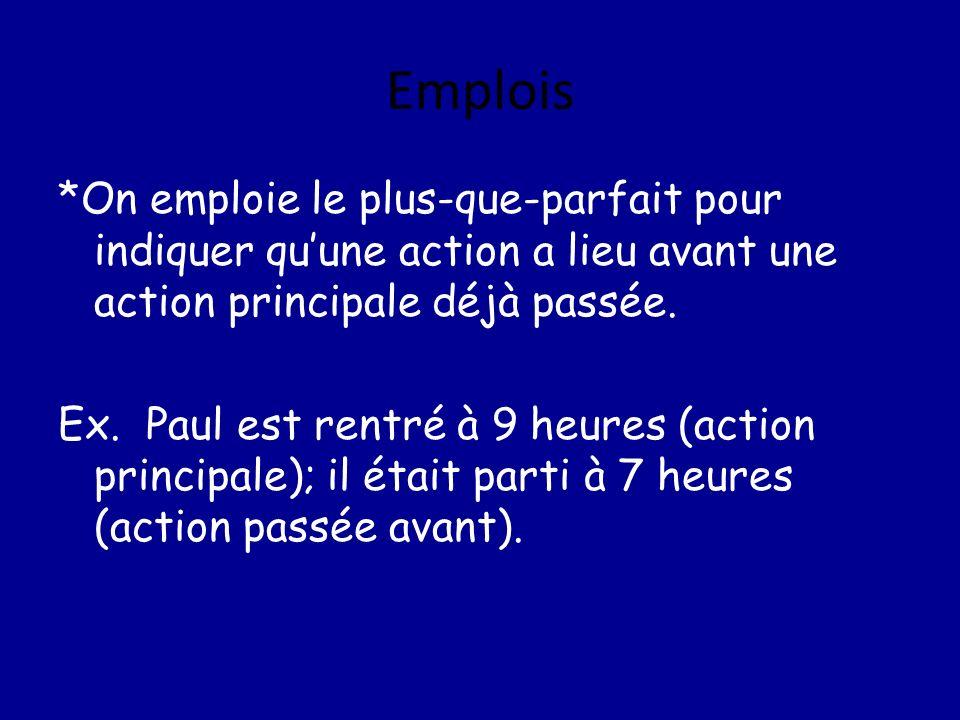 Emplois *On emploie le plus-que-parfait pour indiquer quune action a lieu avant une action principale déjà passée. Ex. Paul est rentré à 9 heures (act