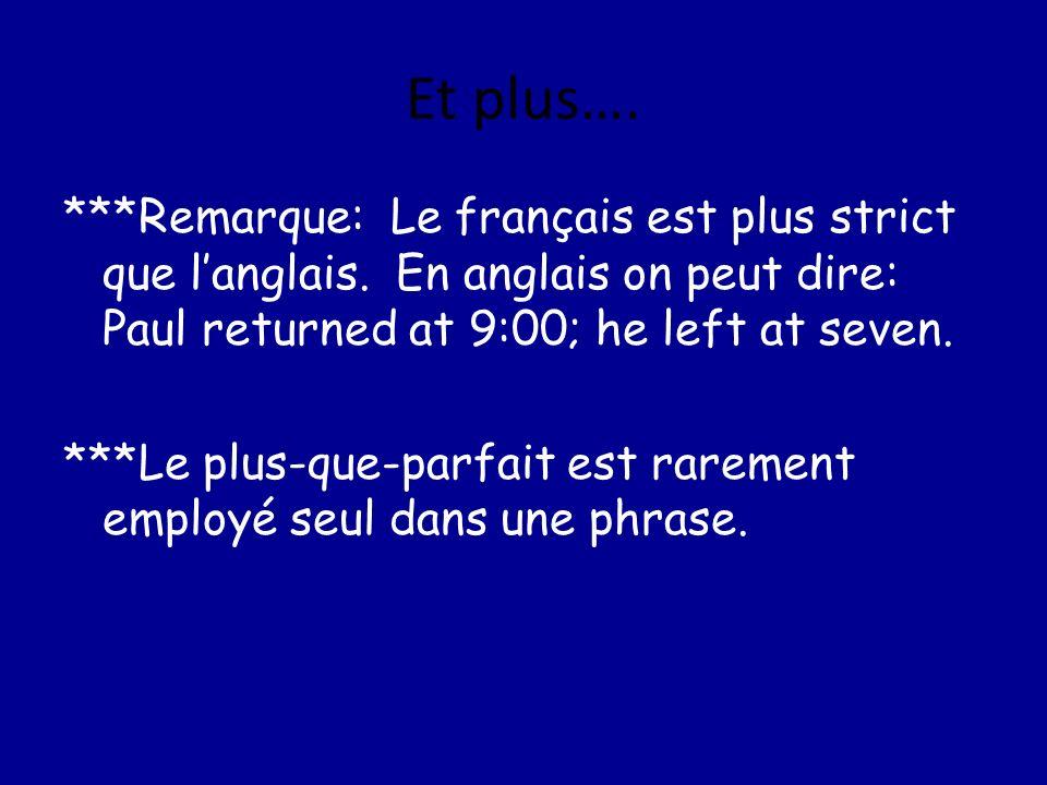 Et plus…. ***Remarque: Le français est plus strict que langlais. En anglais on peut dire: Paul returned at 9:00; he left at seven. ***Le plus-que-parf
