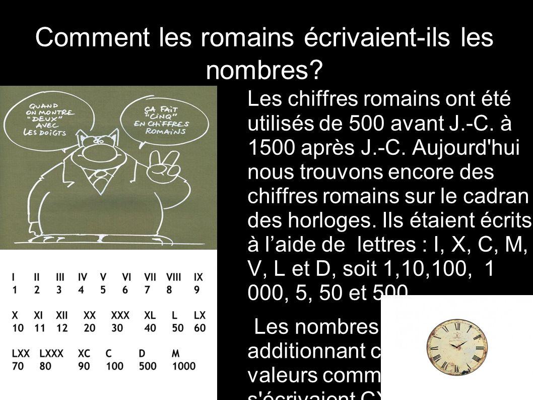 Comment les romains écrivaient-ils les nombres? Les chiffres romains ont été utilisés de 500 avant J.-C. à 1500 après J.-C. Aujourd'hui nous trouvons