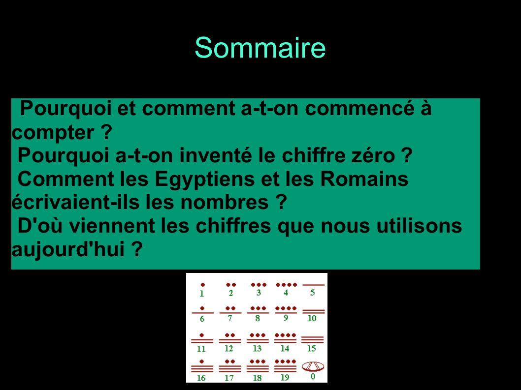 Pourquoi et comment a-t-on commencé à compter ? Pourquoi a-t-on inventé le chiffre zéro ? Comment les Egyptiens et les Romains écrivaient-ils les nomb