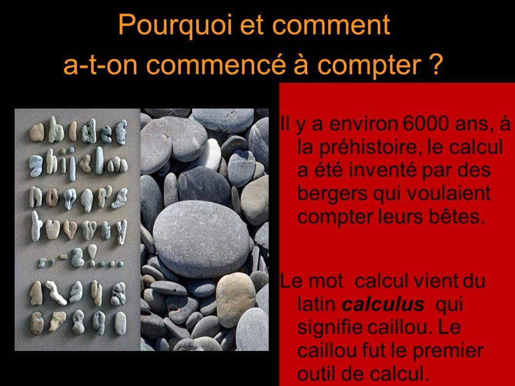 Pourquoi et comment a-t-on commencé à compter ? Il y a environ 6000 ans, à la préhistoire, le calcul a été inventé par des bergers qui voulaient compt