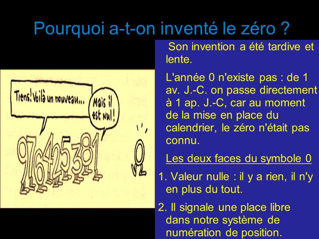 Pourquoi a-t-on inventé le zéro ? Son invention a été tardive et lente. L'année 0 n'existe pas : de 1 av. J.-C. on passe directement à 1 ap. J.-C, car