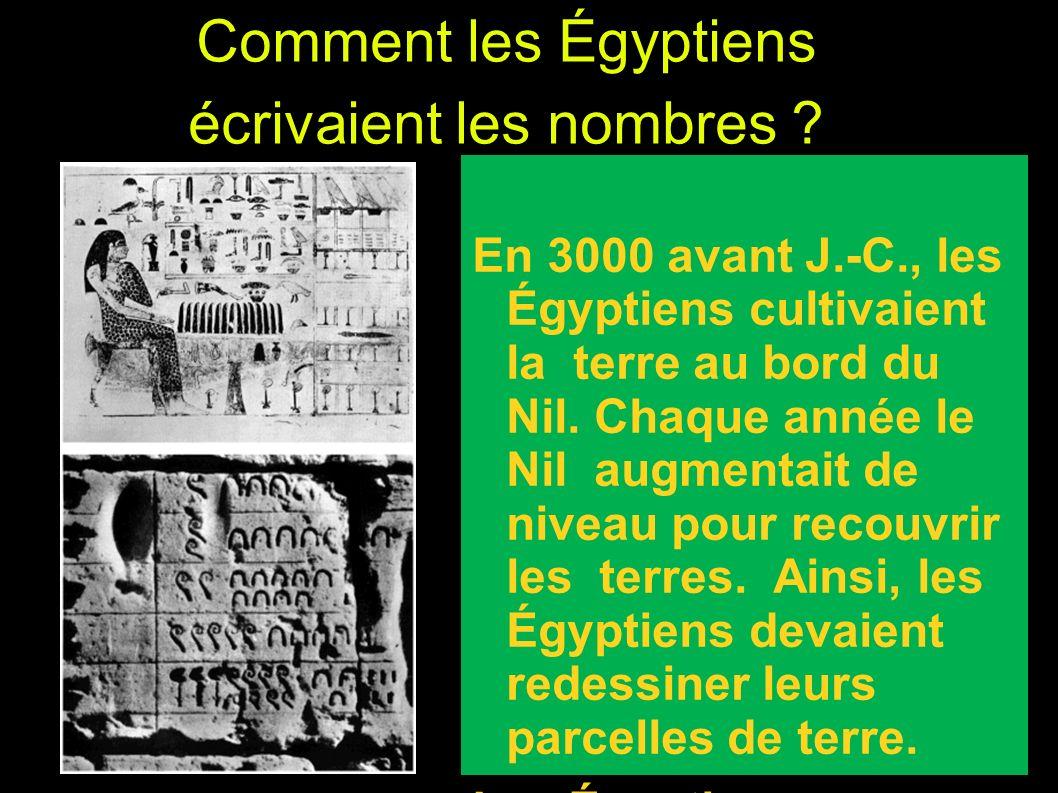 Comment les Égyptiens écrivaient les nombres ? En 3000 avant J.-C., les Égyptiens cultivaient la terre au bord du Nil. Chaque année le Nil augmentait