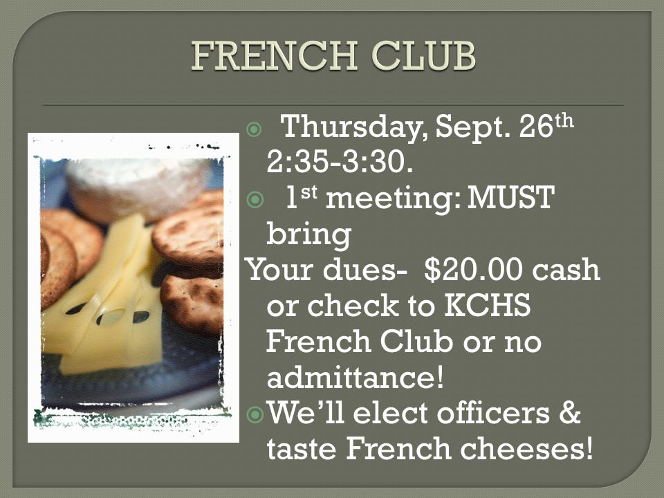 Thursday, Sept. 26 th 2:35-3:30.