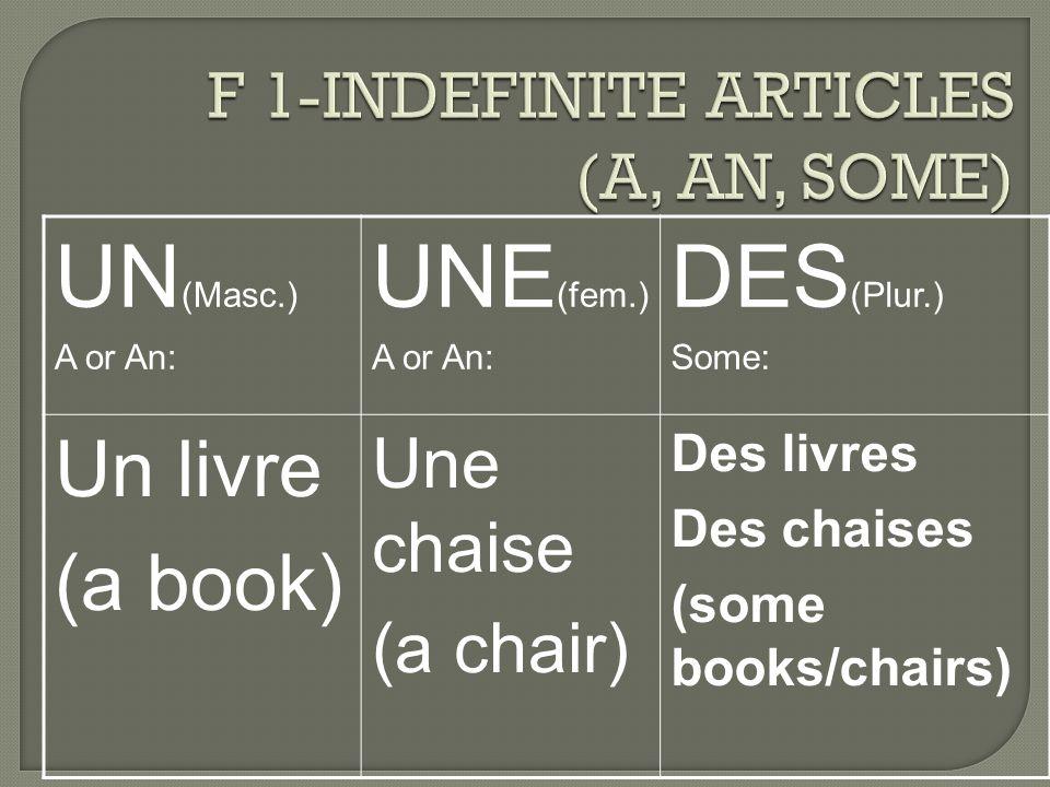 UN (Masc.) A or An: UNE (fem.) A or An: DES (Plur.) Some: Un livre (a book) Une chaise (a chair) Des livres Des chaises (some books/chairs)
