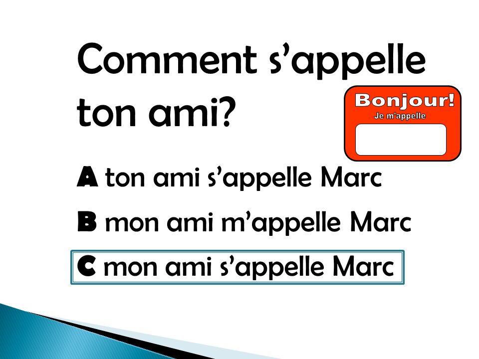 Comment sappelle ton ami A ton ami sappelle Marc B mon ami mappelle Marc C mon ami sappelle Marc