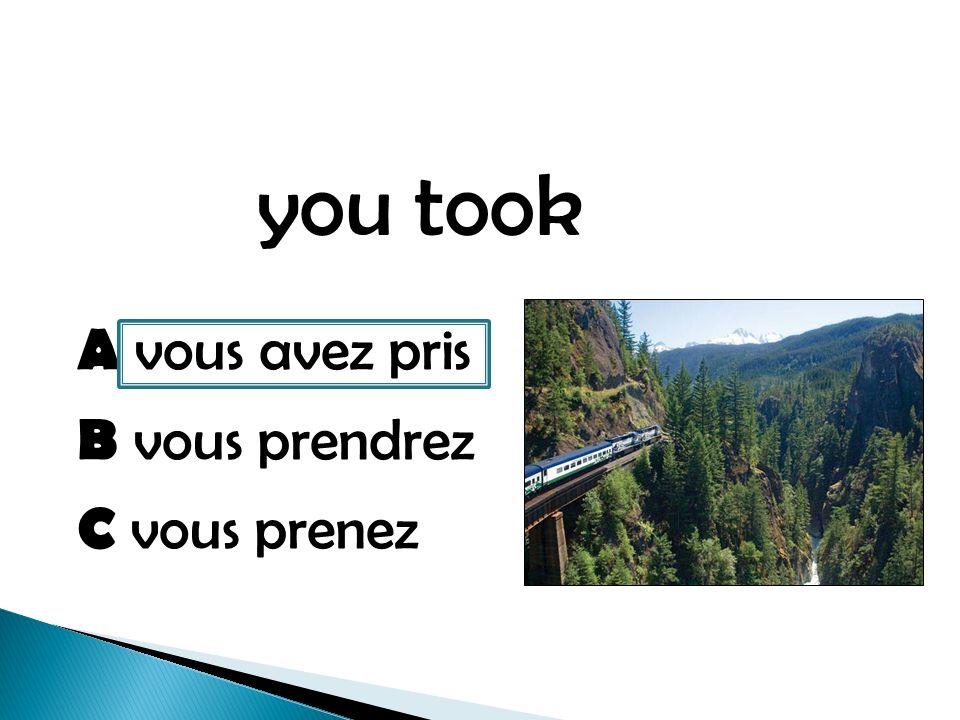 you took A vous avez pris B vous prendrez C vous prenez