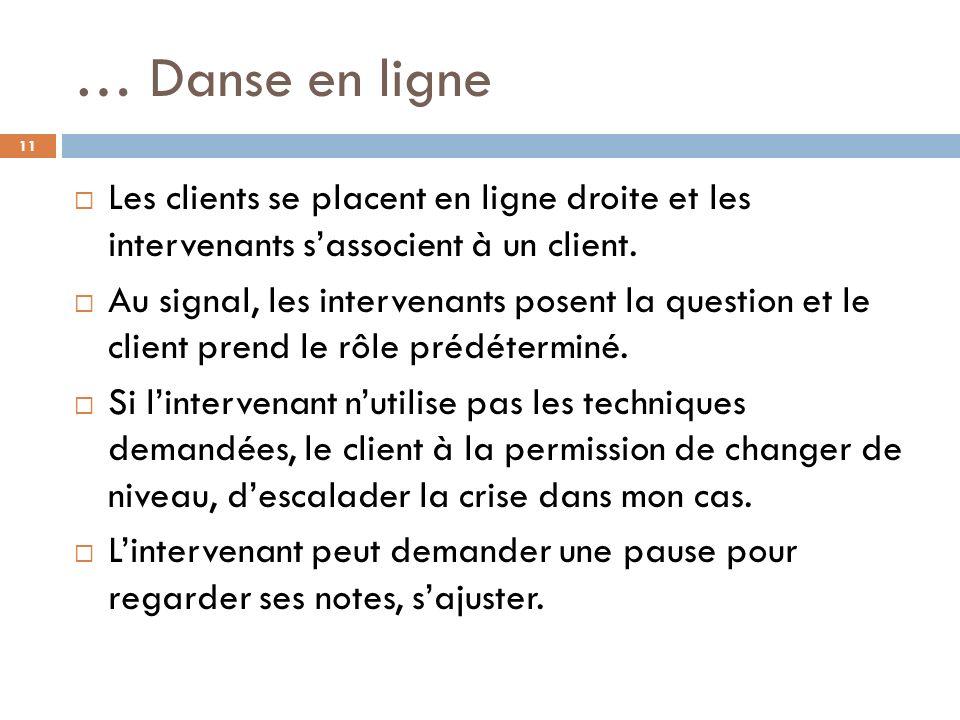 … Danse en ligne Les clients se placent en ligne droite et les intervenants sassocient à un client.