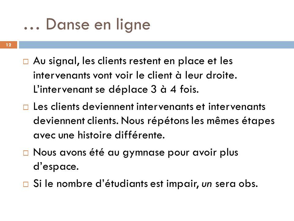 … Danse en ligne Au signal, les clients restent en place et les intervenants vont voir le client à leur droite.