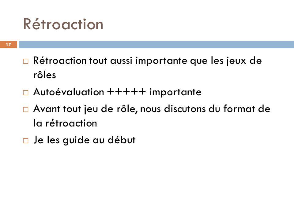 Rétroaction Rétroaction tout aussi importante que les jeux de rôles Autoévaluation +++++ importante Avant tout jeu de rôle, nous discutons du format de la rétroaction Je les guide au début 17