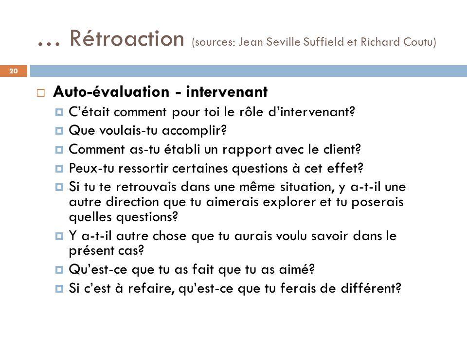 … Rétroaction (sources: Jean Seville Suffield et Richard Coutu) Auto-évaluation - intervenant Cétait comment pour toi le rôle dintervenant.
