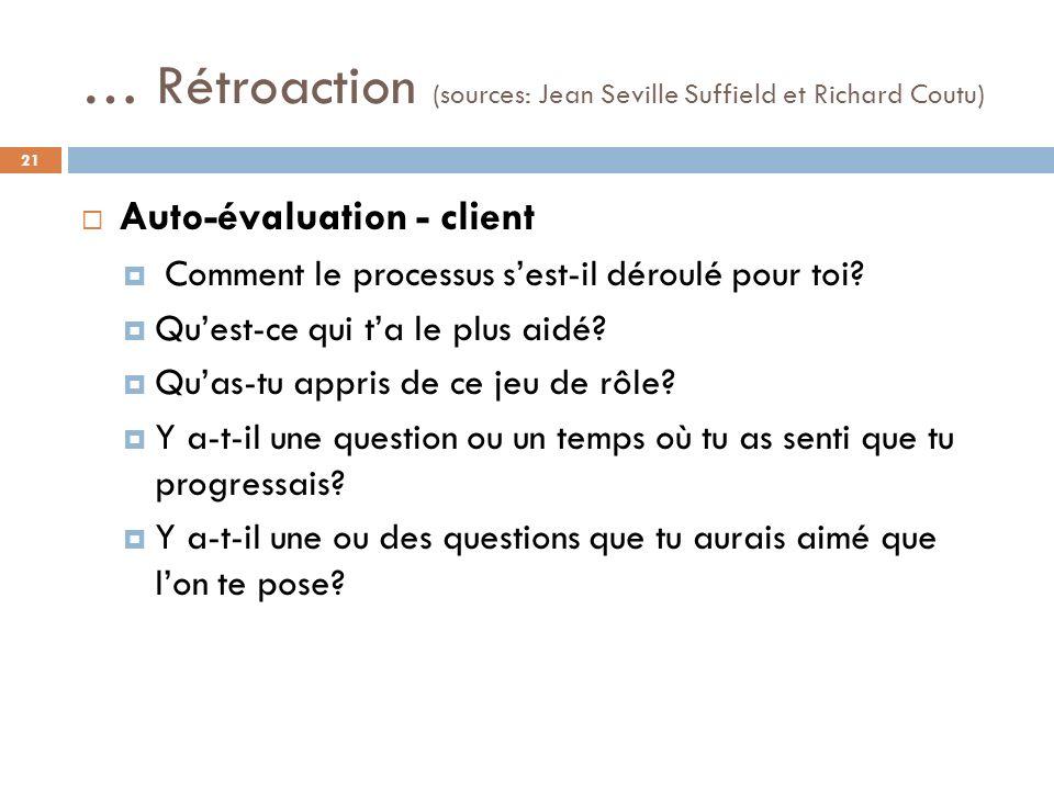 … Rétroaction (sources: Jean Seville Suffield et Richard Coutu) Auto-évaluation - client Comment le processus sest-il déroulé pour toi.