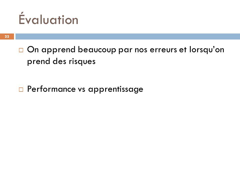 Évaluation On apprend beaucoup par nos erreurs et lorsquon prend des risques Performance vs apprentissage 22