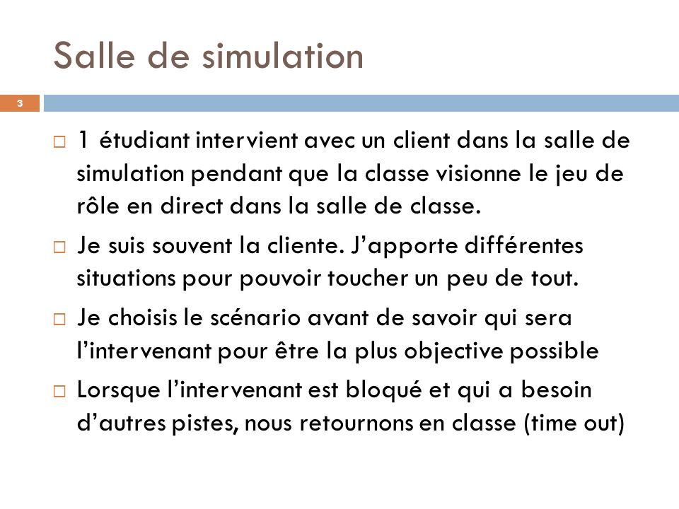 Salle de simulation 1 étudiant intervient avec un client dans la salle de simulation pendant que la classe visionne le jeu de rôle en direct dans la salle de classe.