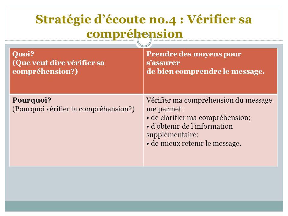 Stratégie découte no.4 : Vérifier sa compréhension Quoi.