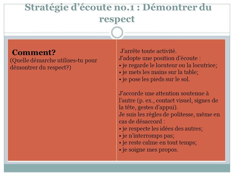 Stratégie découte no.1 : Démontrer du respect Quand.