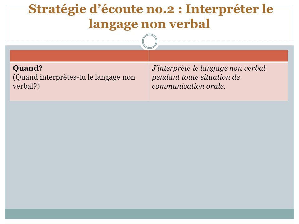 Stratégie découte no.2 : Interpréter le langage non verbal Quand.