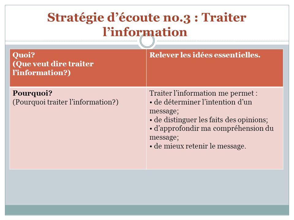 Stratégie découte no.3 : Traiter linformation Quoi.
