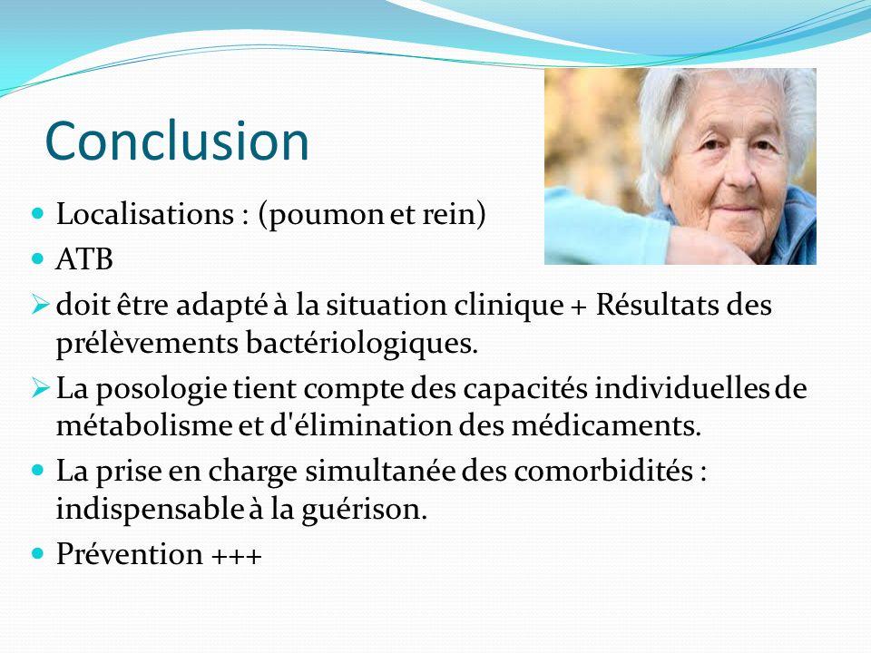 Conclusion Localisations : (poumon et rein) ATB doit être adapté à la situation clinique + Résultats des prélèvements bactériologiques. La posologie t