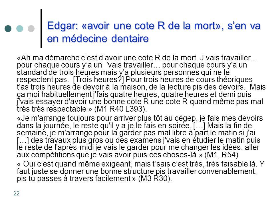 Edgar: «avoir une cote R de la mort», sen va en médecine dentaire «Ah ma démarche cest davoir une cote R de la mort. Jvais travailler… pour chaque cou