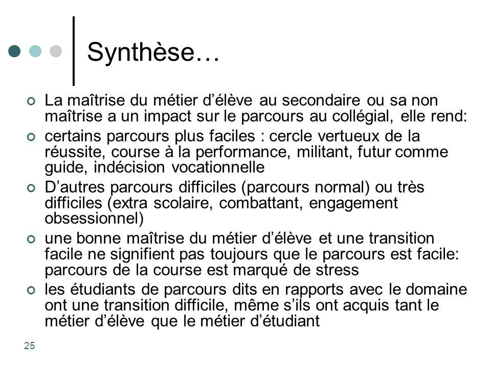Synthèse… La maîtrise du métier délève au secondaire ou sa non maîtrise a un impact sur le parcours au collégial, elle rend: certains parcours plus fa