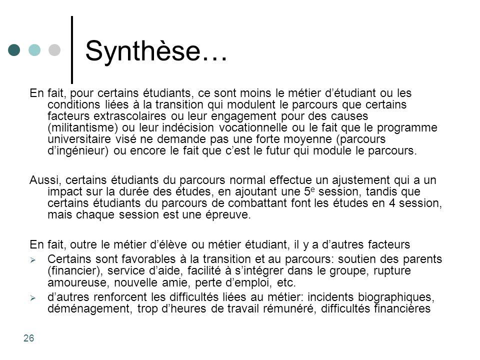 Synthèse… En fait, pour certains étudiants, ce sont moins le métier détudiant ou les conditions liées à la transition qui modulent le parcours que cer