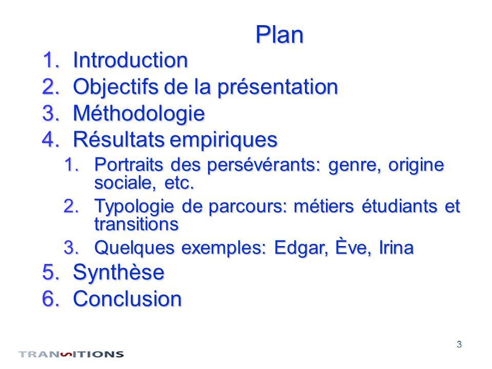 3 Plan 1.Introduction 2.Objectifs de la présentation 3.Méthodologie 4.Résultats empiriques 1.Portraits des persévérants: genre, origine sociale, etc.