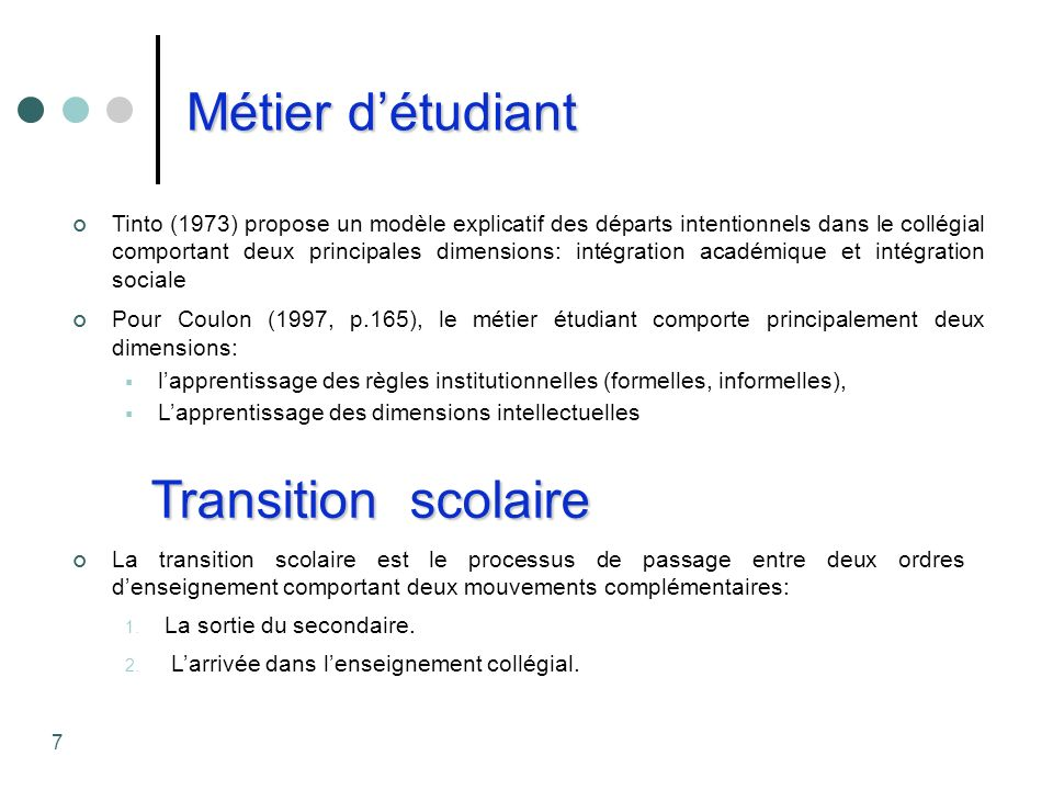 Métier détudiant Tinto (1973) propose un modèle explicatif des départs intentionnels dans le collégial comportant deux principales dimensions: intégra