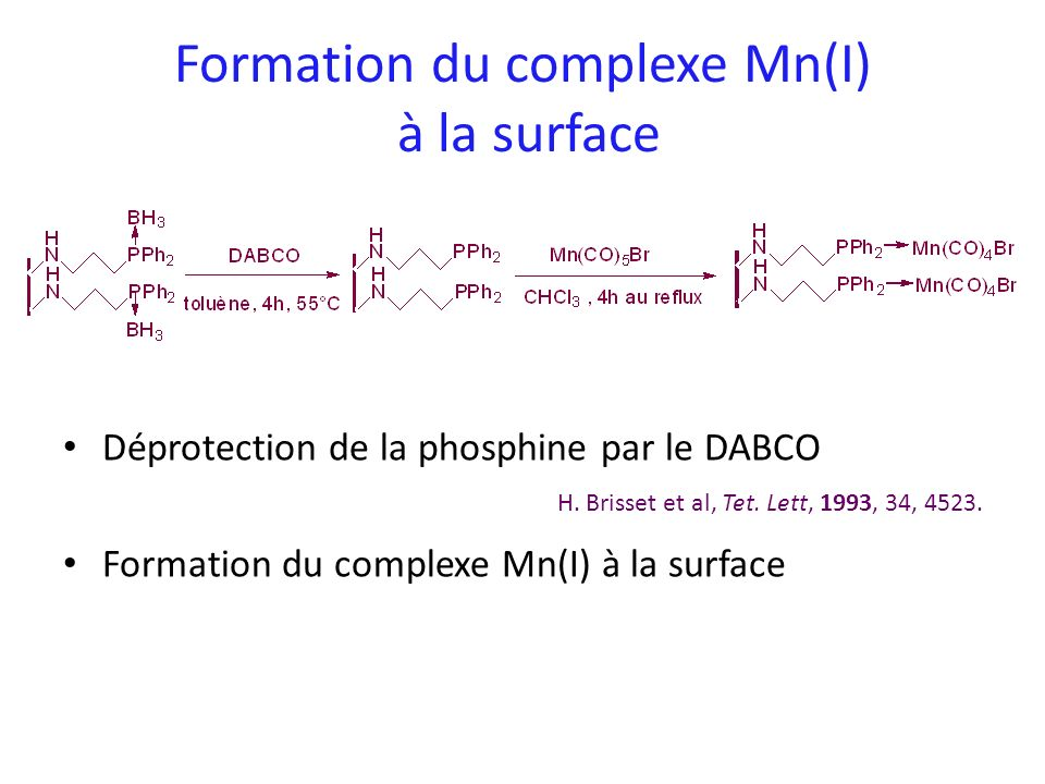 Formation du complexe Mn(I) à la surface Déprotection de la phosphine par le DABCO Formation du complexe Mn(I) à la surface H. Brisset et al, Tet. Let