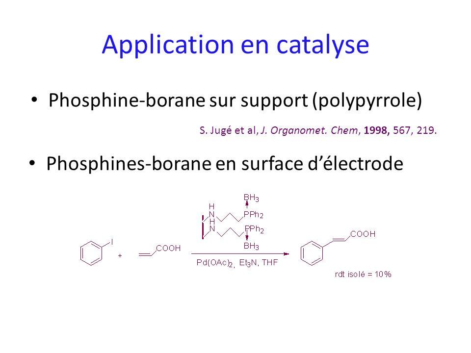 Phosphines-borane en surface délectrode Application en catalyse S. Jugé et al, J. Organomet. Chem, 1998, 567, 219. Phosphine-borane sur support (polyp