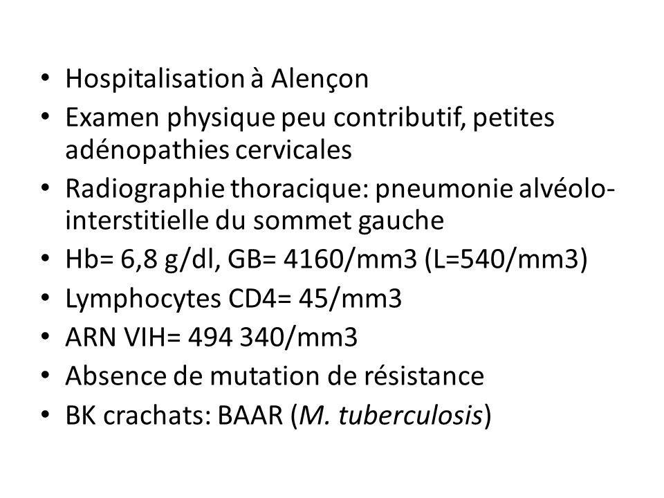 Hospitalisation à Alençon Examen physique peu contributif, petites adénopathies cervicales Radiographie thoracique: pneumonie alvéolo- interstitielle