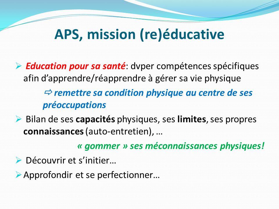 APS, mission (re)éducative Education pour sa santé: dvper compétences spécifiques afin dapprendre/réapprendre à gérer sa vie physique remettre sa cond