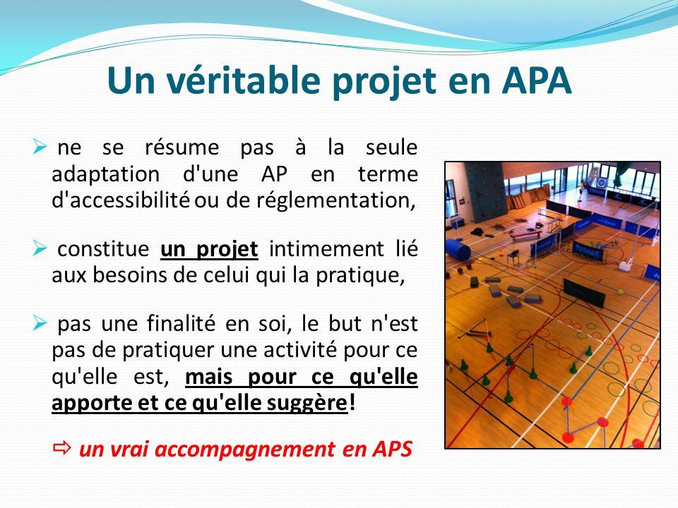 Un véritable projet en APA ne se résume pas à la seule adaptation d'une AP en terme d'accessibilité ou de réglementation, constitue un projet intimeme
