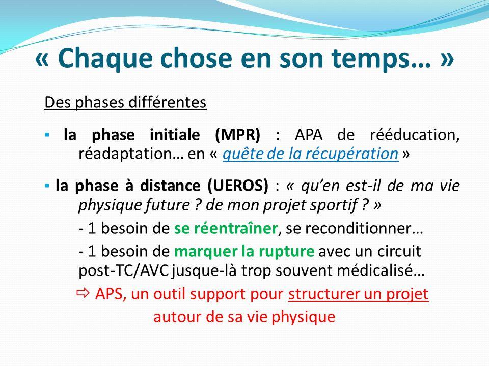 « Chaque chose en son temps… » Des phases différentes la phase initiale (MPR) : APA de rééducation, réadaptation… en « quête de la récupération » la p