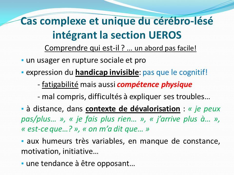 Cas complexe et unique du cérébro-lésé intégrant la section UEROS Comprendre qui est-il ? … un abord pas facile! un usager en rupture sociale et pro e