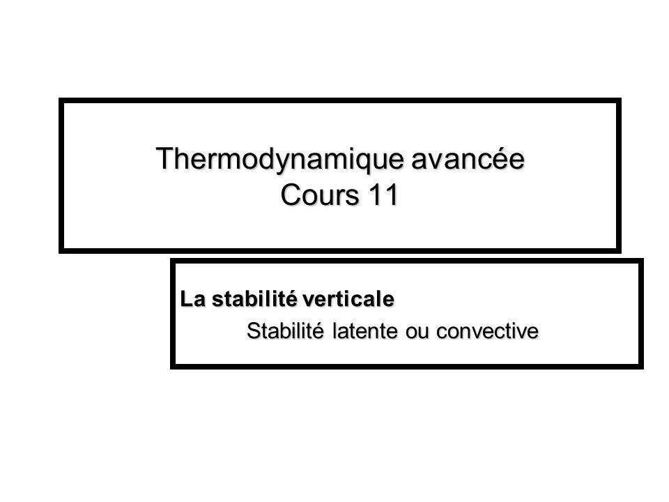 Thermodynamique avancée Cours 11 La stabilité verticale Stabilité latente ou convective