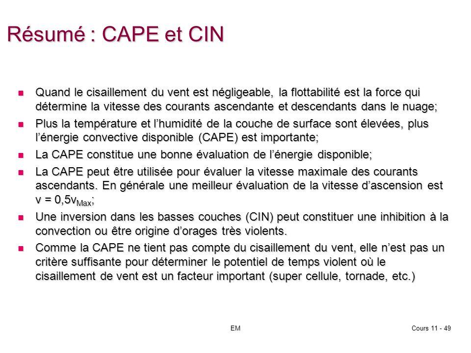 EMCours 11 - 49 Résumé : CAPE et CIN Quand le cisaillement du vent est négligeable, la flottabilité est la force qui détermine la vitesse des courants ascendante et descendants dans le nuage; Quand le cisaillement du vent est négligeable, la flottabilité est la force qui détermine la vitesse des courants ascendante et descendants dans le nuage; Plus la température et lhumidité de la couche de surface sont élevées, plus lénergie convective disponible (CAPE) est importante; Plus la température et lhumidité de la couche de surface sont élevées, plus lénergie convective disponible (CAPE) est importante; La CAPE constitue une bonne évaluation de lénergie disponible; La CAPE constitue une bonne évaluation de lénergie disponible; La CAPE peut être utilisée pour évaluer la vitesse maximale des courants ascendants.