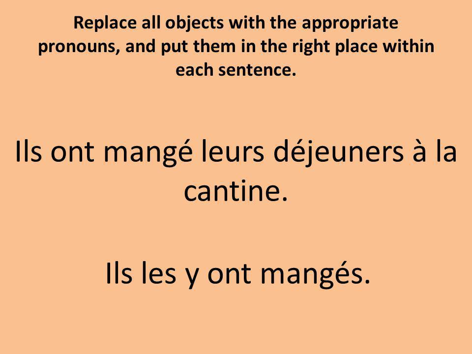 Replace all objects with the appropriate pronouns, and put them in the right place within each sentence.