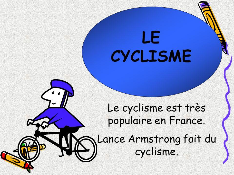 LE CYCLISME Le cyclisme est très populaire en France. Lance Armstrong fait du cyclisme.