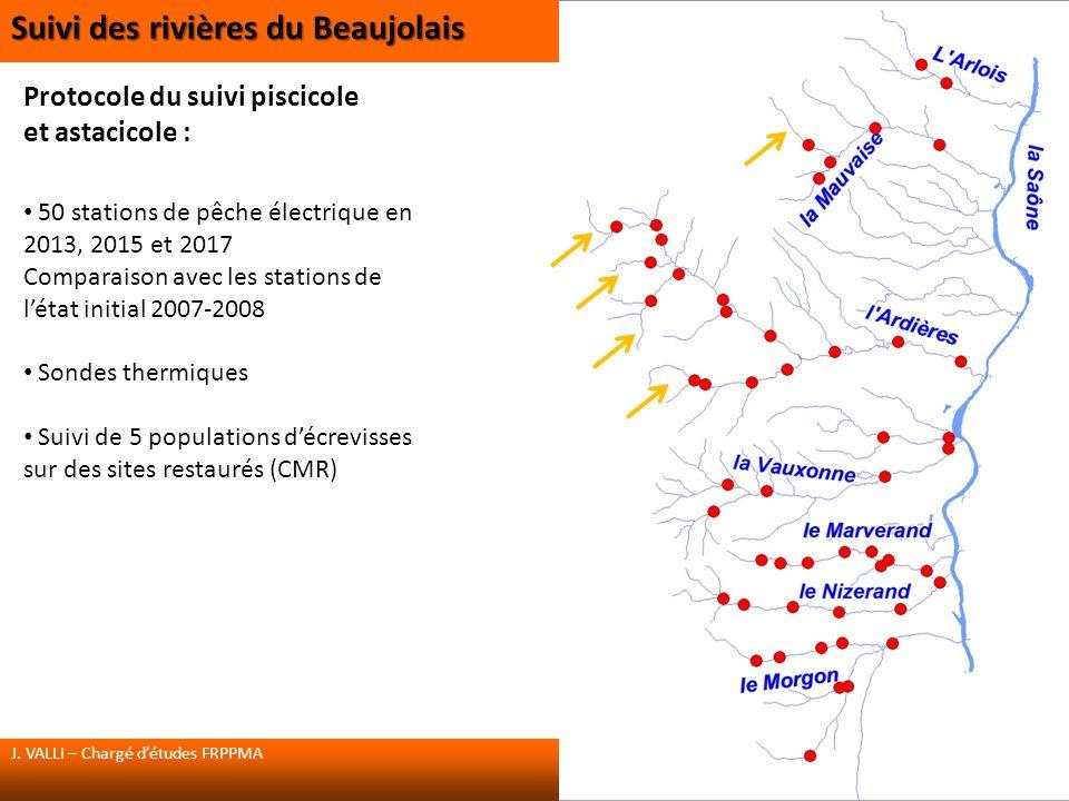 Protocole du suivi piscicole et astacicole : 50 stations de pêche électrique en 2013, 2015 et 2017 Comparaison avec les stations de létat initial 2007-2008 Sondes thermiques Suivi de 5 populations décrevisses sur des sites restaurés (CMR) J.