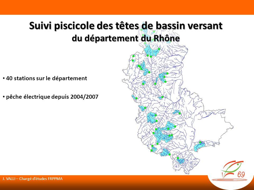 40 stations sur le département pêche électrique depuis 2004/2007 Suivi piscicole des têtes de bassin versant du département du Rhône J.