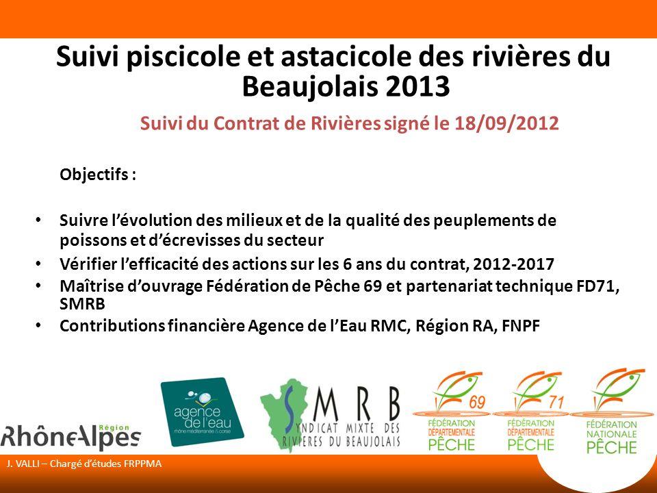 J. VALLI – Chargé détudes FRPPMA Suivi piscicole et astacicole des rivières du Beaujolais 2013 Suivi du Contrat de Rivières signé le 18/09/2012 Object