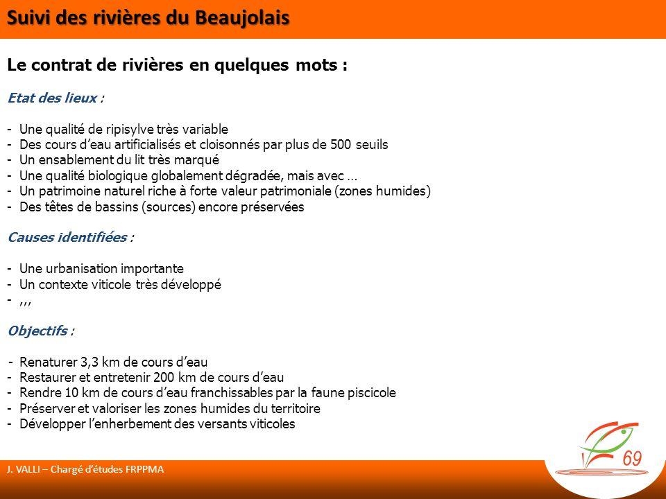 Actions prévues sur le Nizerand : Restauration de la ripisylve Le Nizerand au lieu-dit Narbonne (Denicé) Plantations dun corridors boisé sur 50m linéaire Réalisées en 2012 par les Brigades vertes Renaturation du Nizerand Projet global sur 1600 m Restaurer la continuité piscicole et sédimentaire Restaurer le corridor de la ripisylve Diversifier les faciès découlement Coûts : 1 338 568 HT Subventions : Agence de lEau RM&C, Département du Rhône, Région Rhône-Alpes Projet reporté en 2013 suite à un litige avec une entreprise non retenue J.