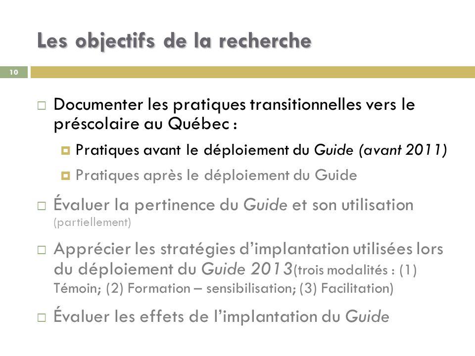 10 Les objectifs de la recherche Documenter les pratiques transitionnelles vers le préscolaire au Québec : Pratiques avant le déploiement du Guide (av