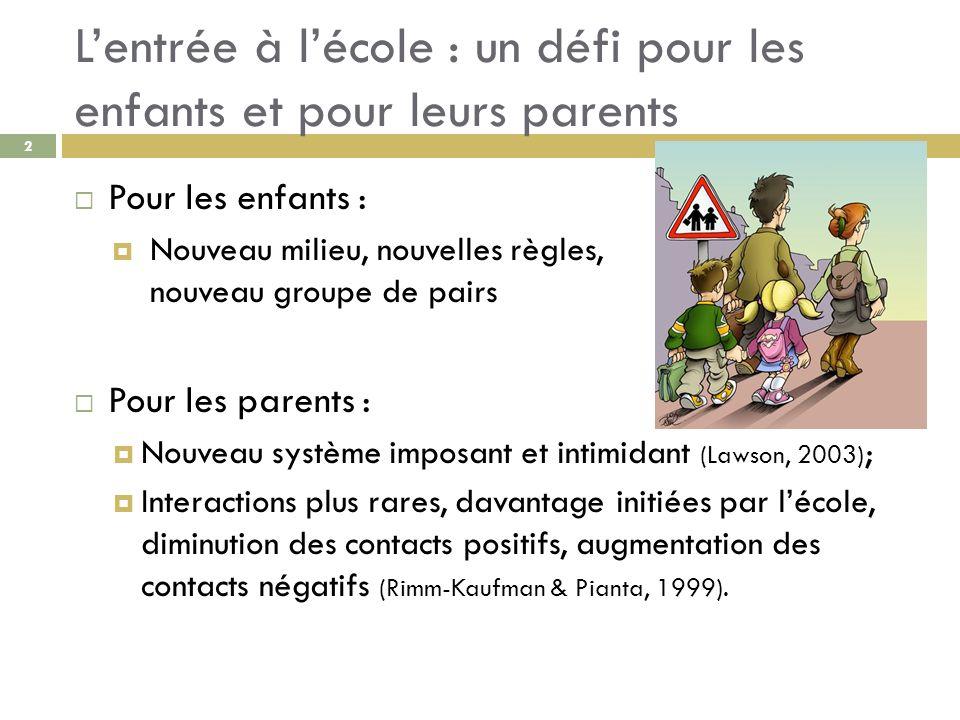 Lentrée à lécole : un défi pour les enfants et pour leurs parents Pour les enfants : Nouveau milieu, nouvelles règles, nouveau groupe de pairs Pour le