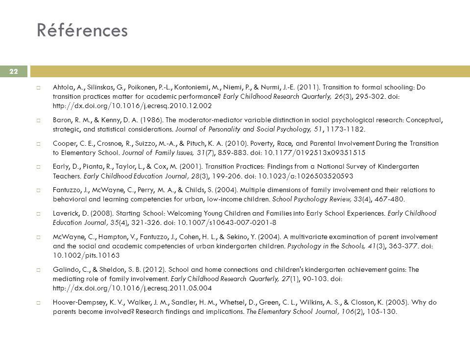 Références Ahtola, A., Silinskas, G., Poikonen, P.-L., Kontoniemi, M., Niemi, P., & Nurmi, J.-E. (2011). Transition to formal schooling: Do transition