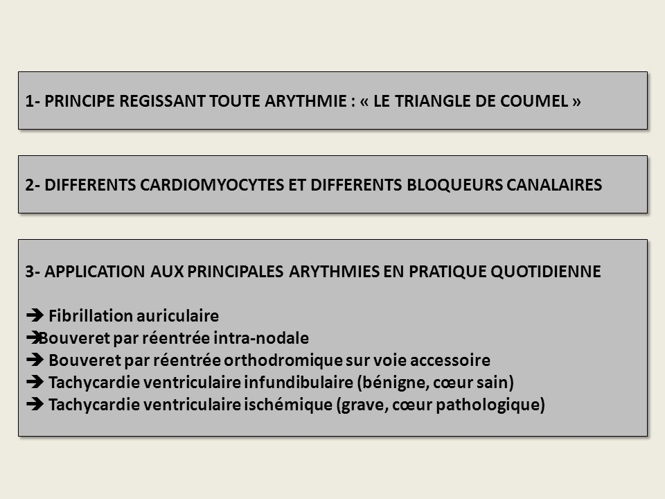 1- PRINCIPE REGISSANT TOUTE ARYTHMIE : « LE TRIANGLE DE COUMEL » 2- DIFFERENTS CARDIOMYOCYTES ET DIFFERENTS BLOQUEURS CANALAIRES 3- APPLICATION AUX PR