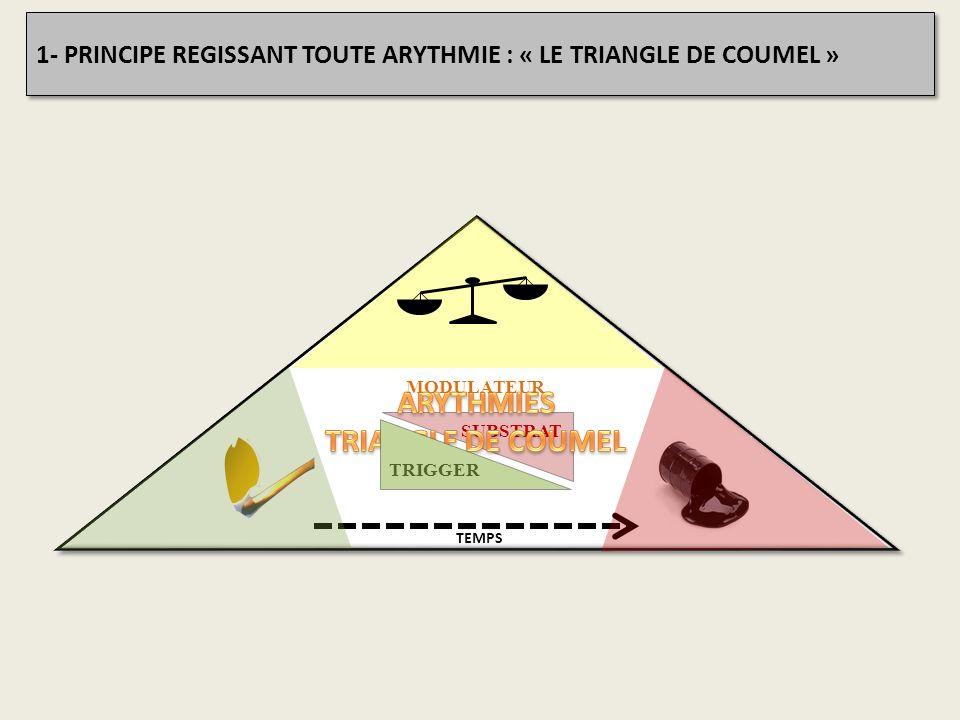 SUBSTRAT TRIGGER MODULATEUR TEMPS 1- PRINCIPE REGISSANT TOUTE ARYTHMIE : « LE TRIANGLE DE COUMEL »