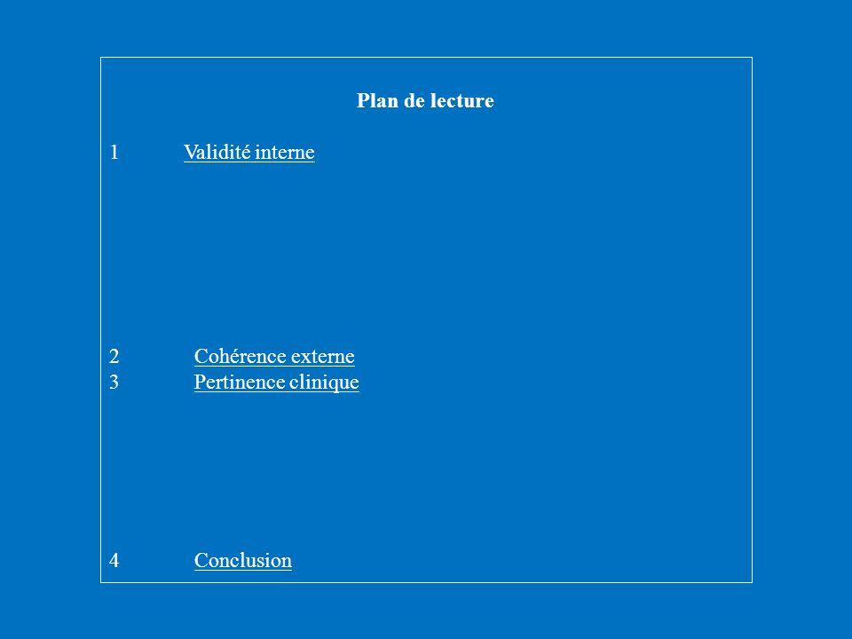 Plan de lecture 1 Validité interne 2 Cohérence externe 3 Pertinence clinique 4 Conclusion